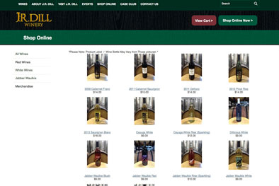 JR Dill Winery Wine List Page